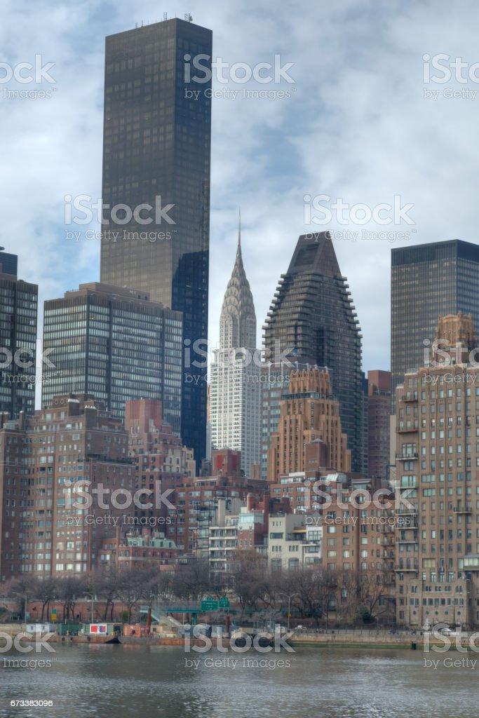Midtown Manhattan Skyline View from Roosevelt Island, NYC stock photo