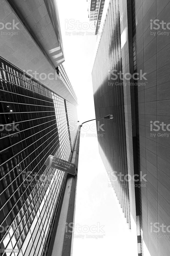 Midtown Manhattan Skyscrapers Low Angle Monochrome royalty-free stock photo