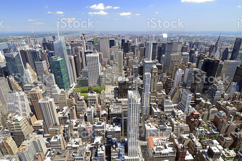 Midtown Manhattan Wide Angle View stock photo