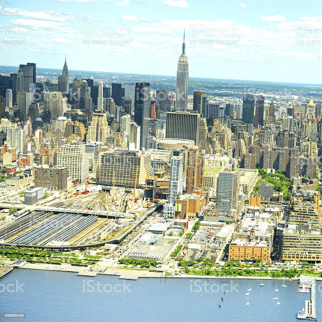 Midtown Skyline, Empire State Building, NYC. Aerial View royalty-free stock photo