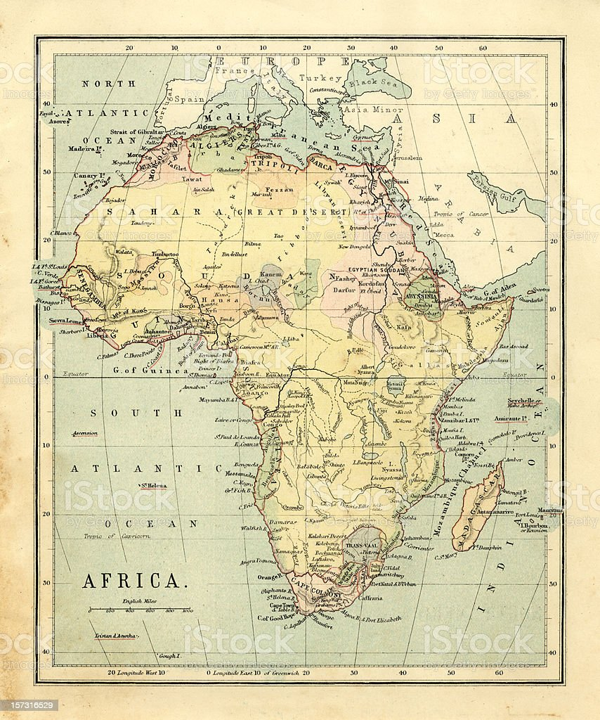 Mid-Victorian map of Africa stock photo