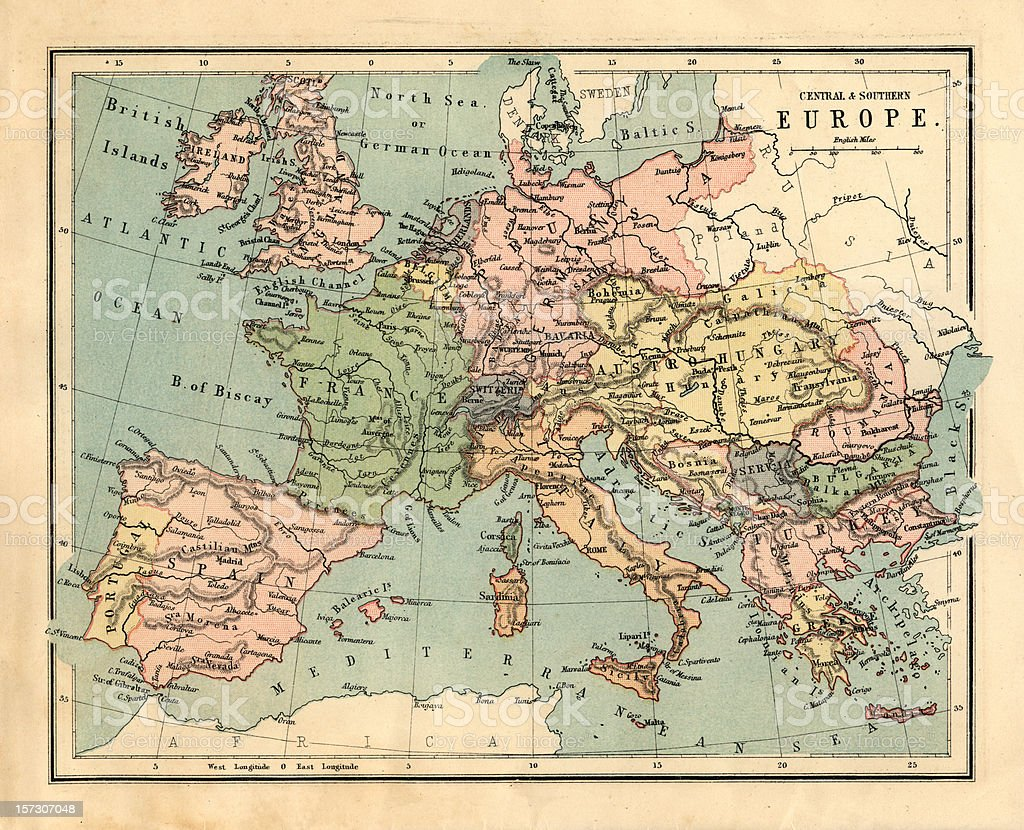 Mid-Victorian map of Central and Southern Europe royalty-free stock photo