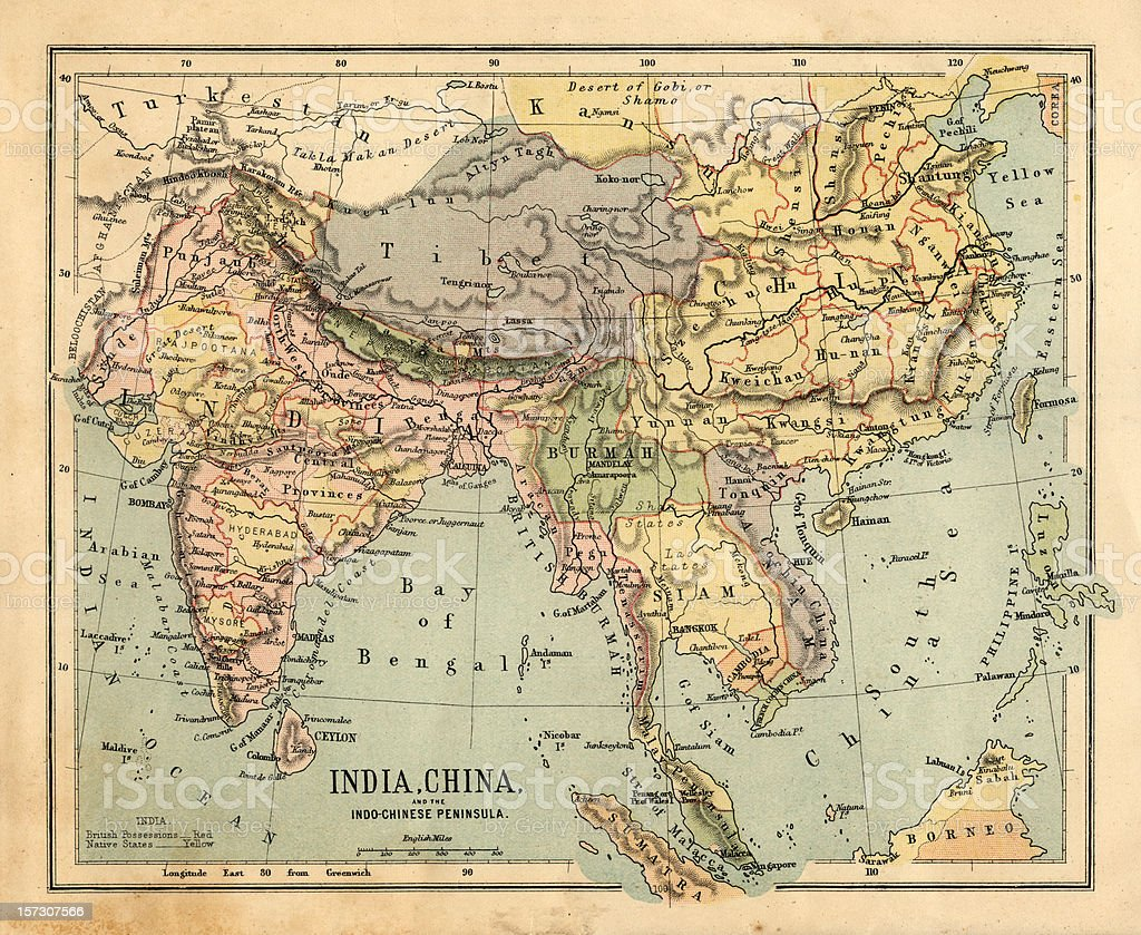 Mid-Victorian map of Indo-China stock photo