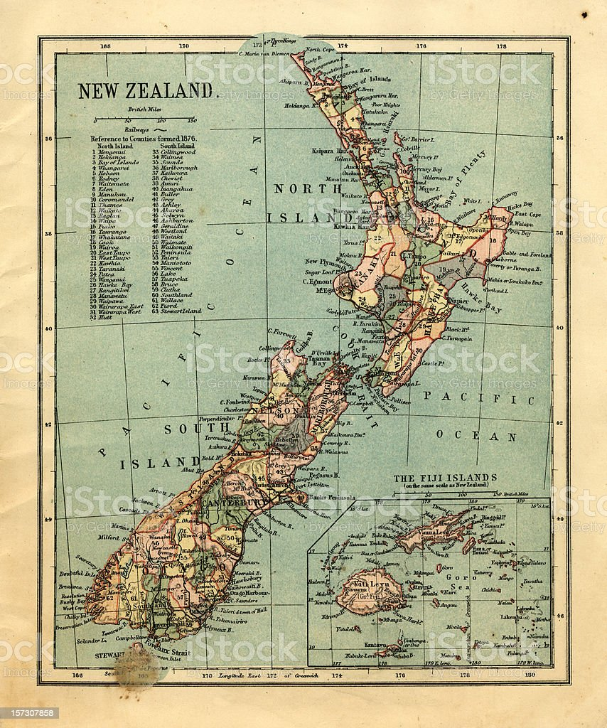Mid-Victorian map of New Zealand and Fiji Islands stock photo