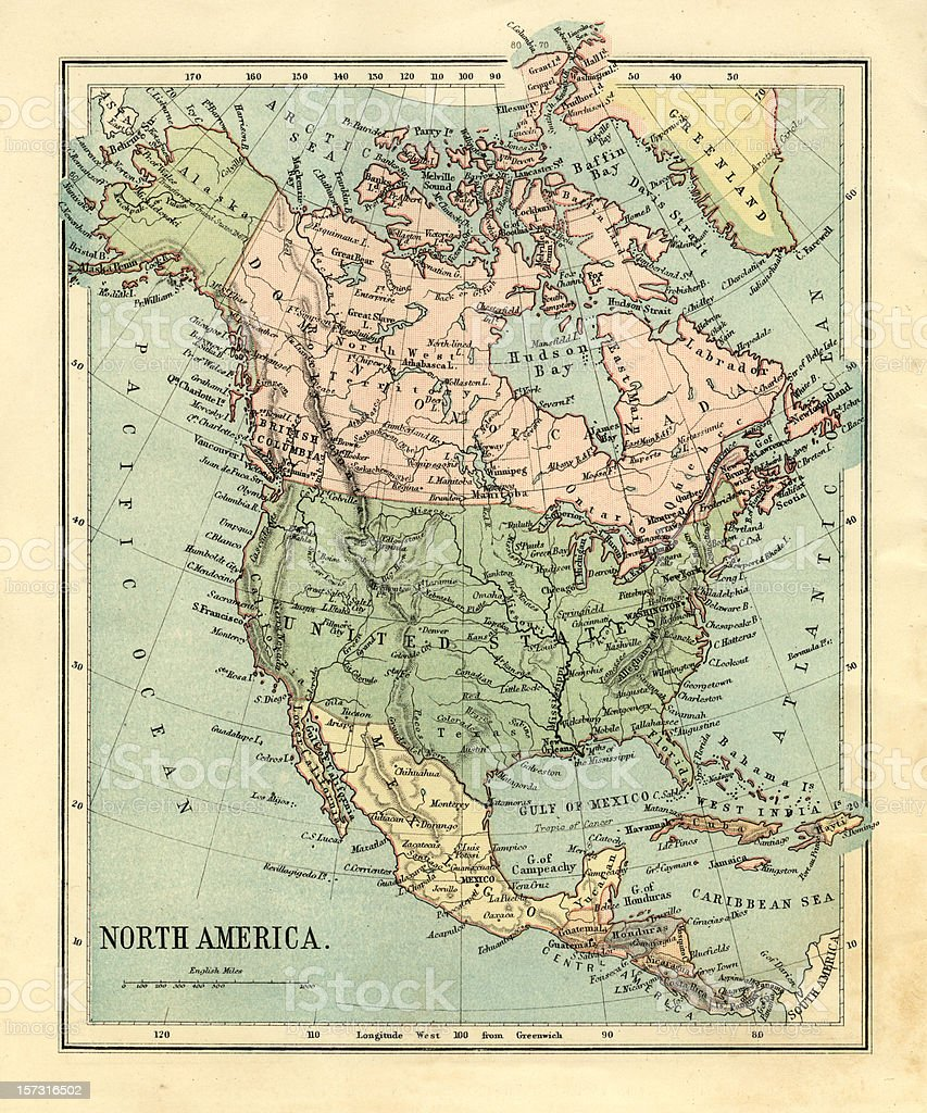 Mid-Victorian map of North America royalty-free stock photo