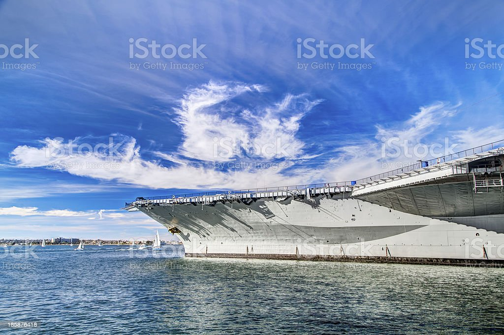 USS midway aircraft carrier in beautiful sky stock photo