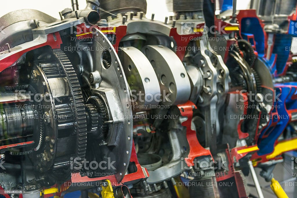 USS Midway Museum Exhibition of World War II aircraft engines stock photo