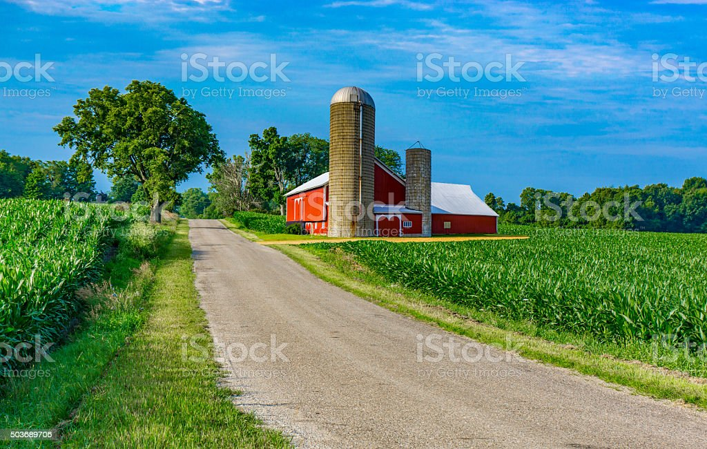 Midwest farm with country road and red barn (P) stock photo
