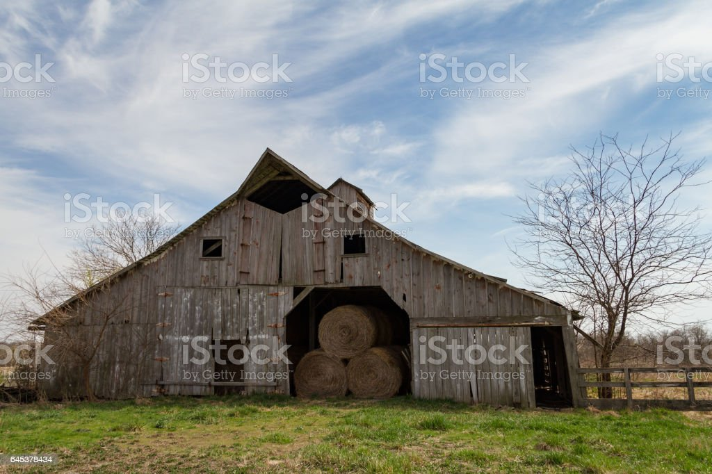 Midwest Hay Barn stock photo