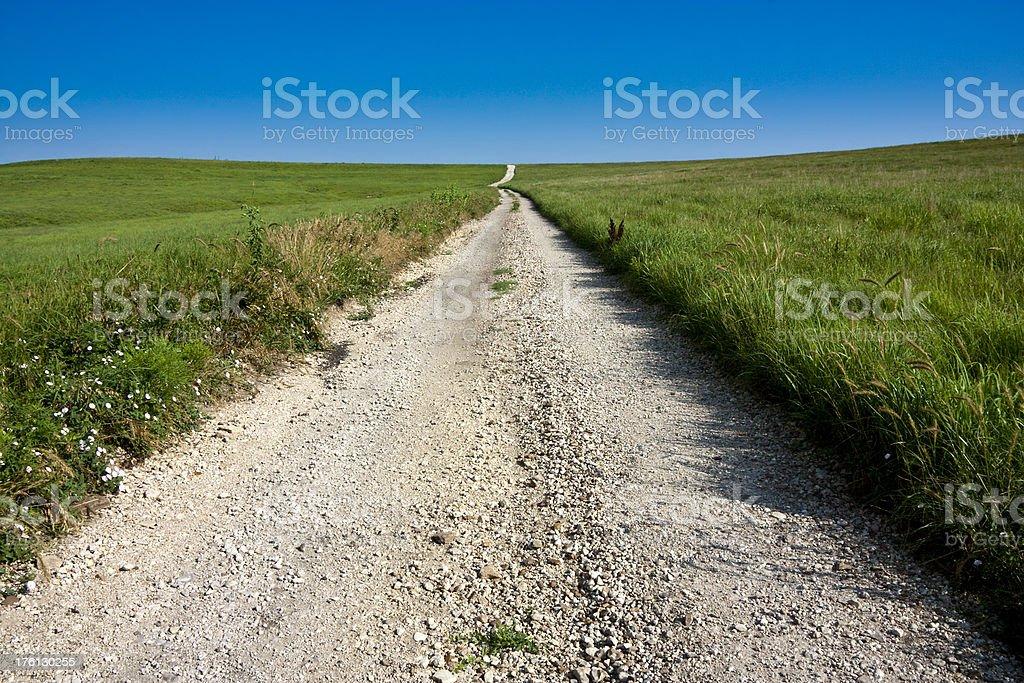 Midwestern Rural Country Road in Kansas Tallgrass Prairie stock photo