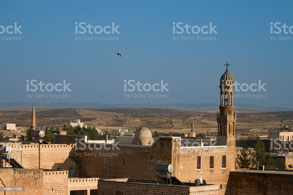 midyat landscape and bell tower stock photo
