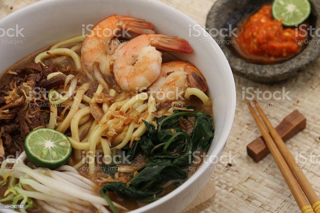 Mie Kangkung stock photo