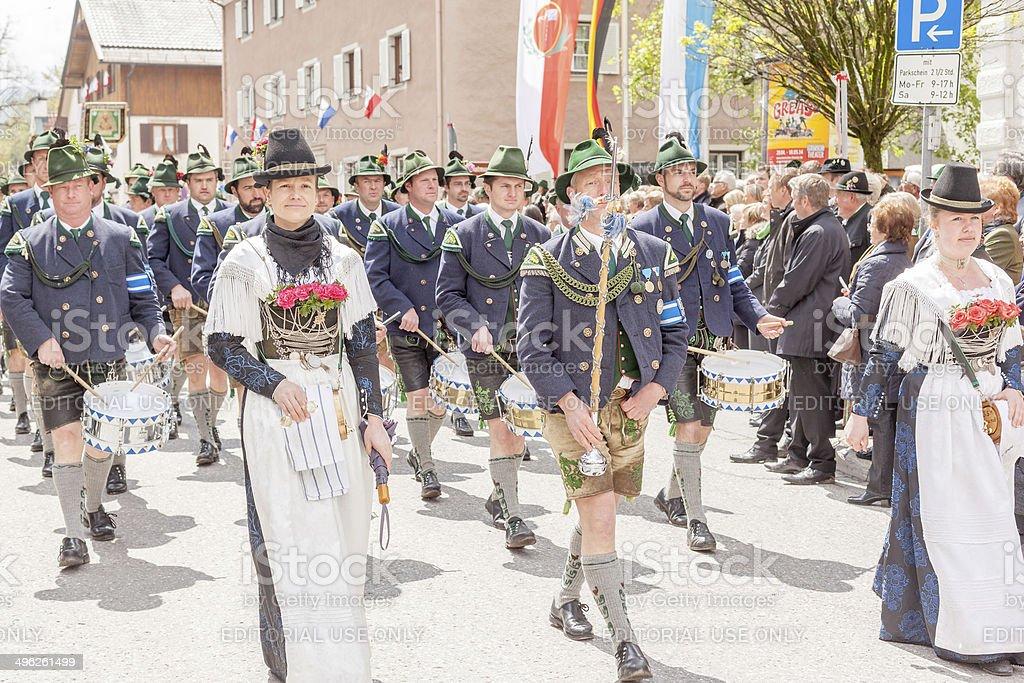Miesbach, Germany – 05.04. 2014:Band at year day of shooters stock photo
