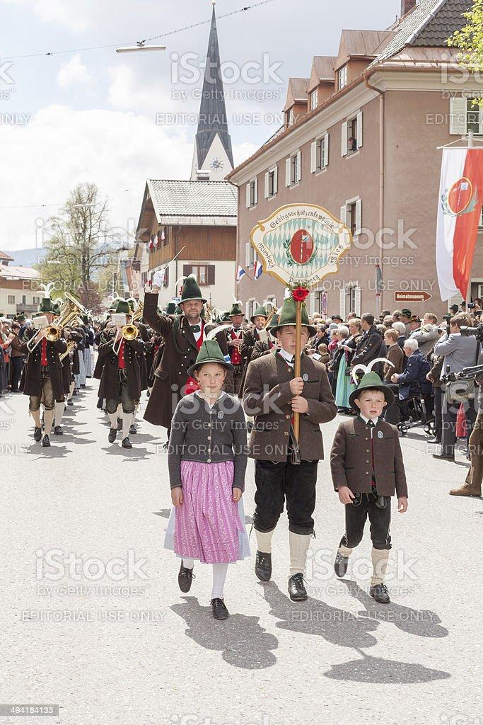 Miesbach, Germany – 05.04. 2014:Band of mountain protect company Parsberg stock photo