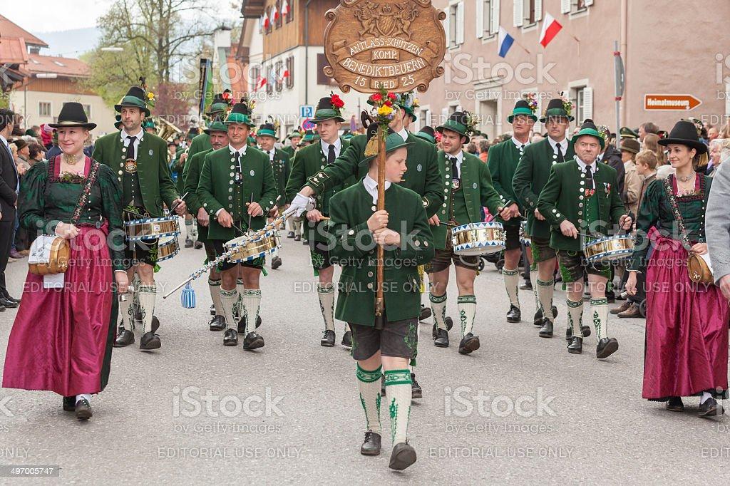 Miesbach,Germany – 05.04. 2014:Band of Antlass shooters Benidiktbeuern stock photo