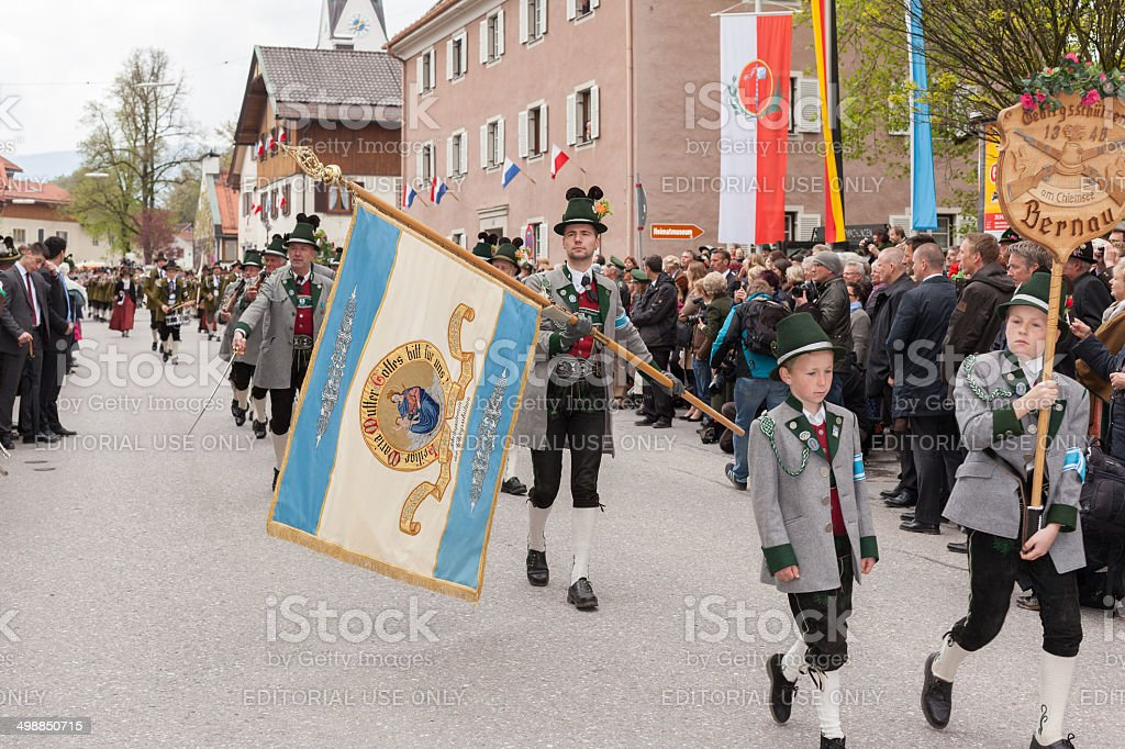 Miesbach,Germany – 05.04. 2014:Mountain protect the flag royalty-free stock photo