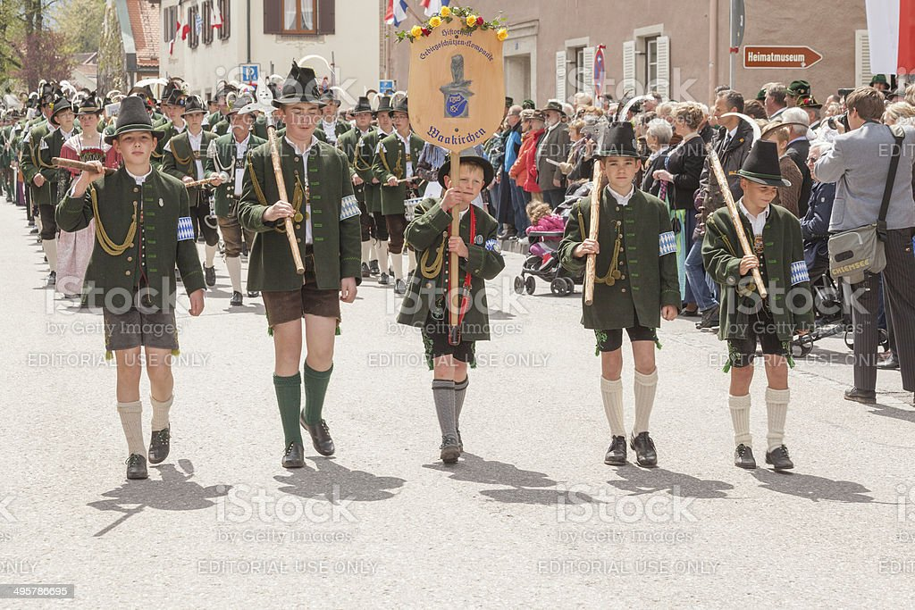 Miesbach,Germany – 05.04. 2014:year day of mountain troops royalty-free stock photo