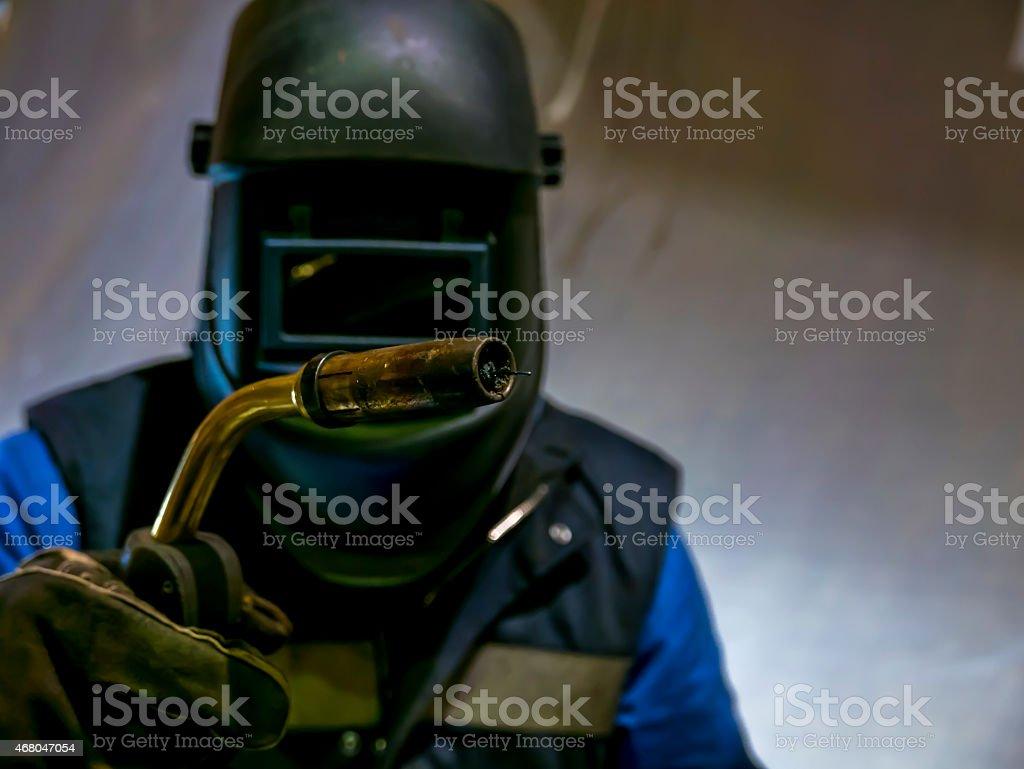 mig mag welder stock photo