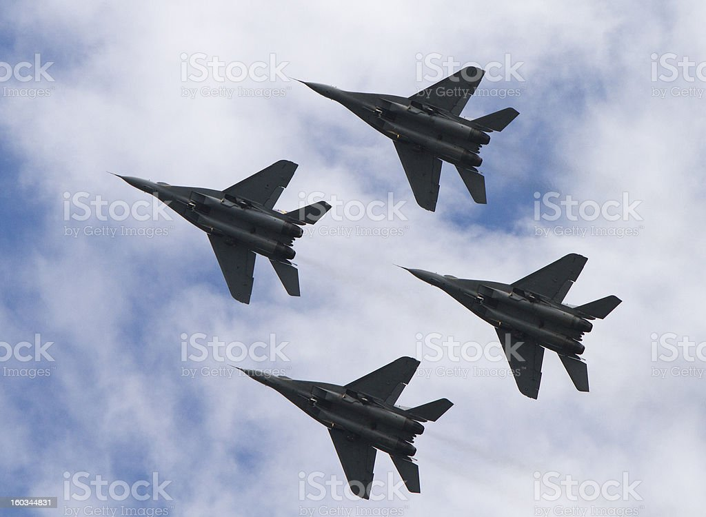 MiG-29 Fighter Jets Flying in Formation stock photo
