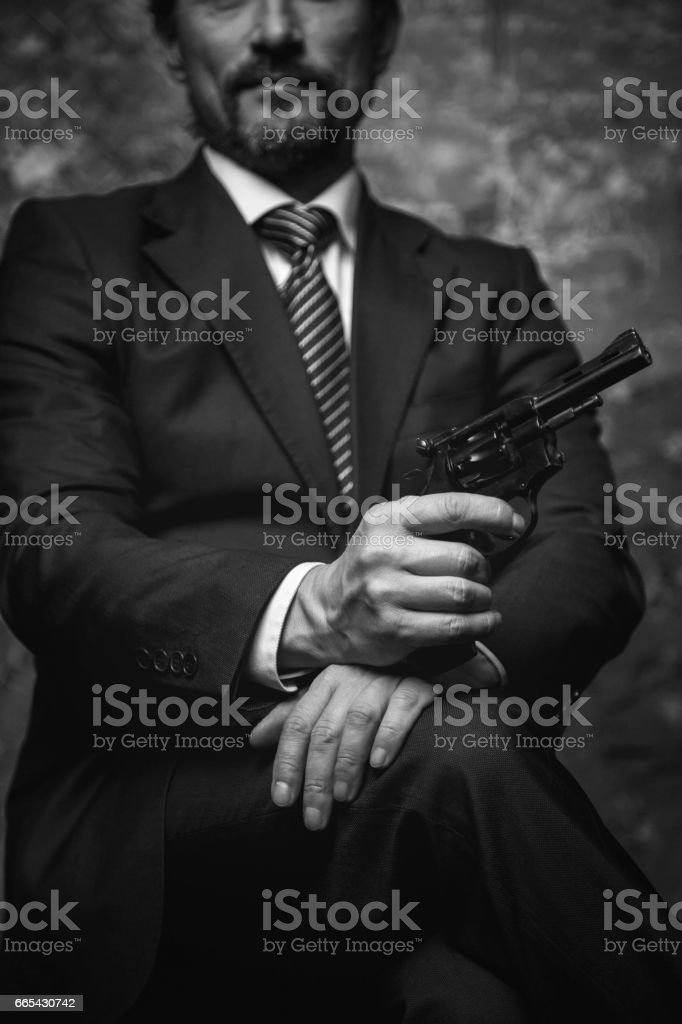 Mighty businessman making a power his basic argument stock photo