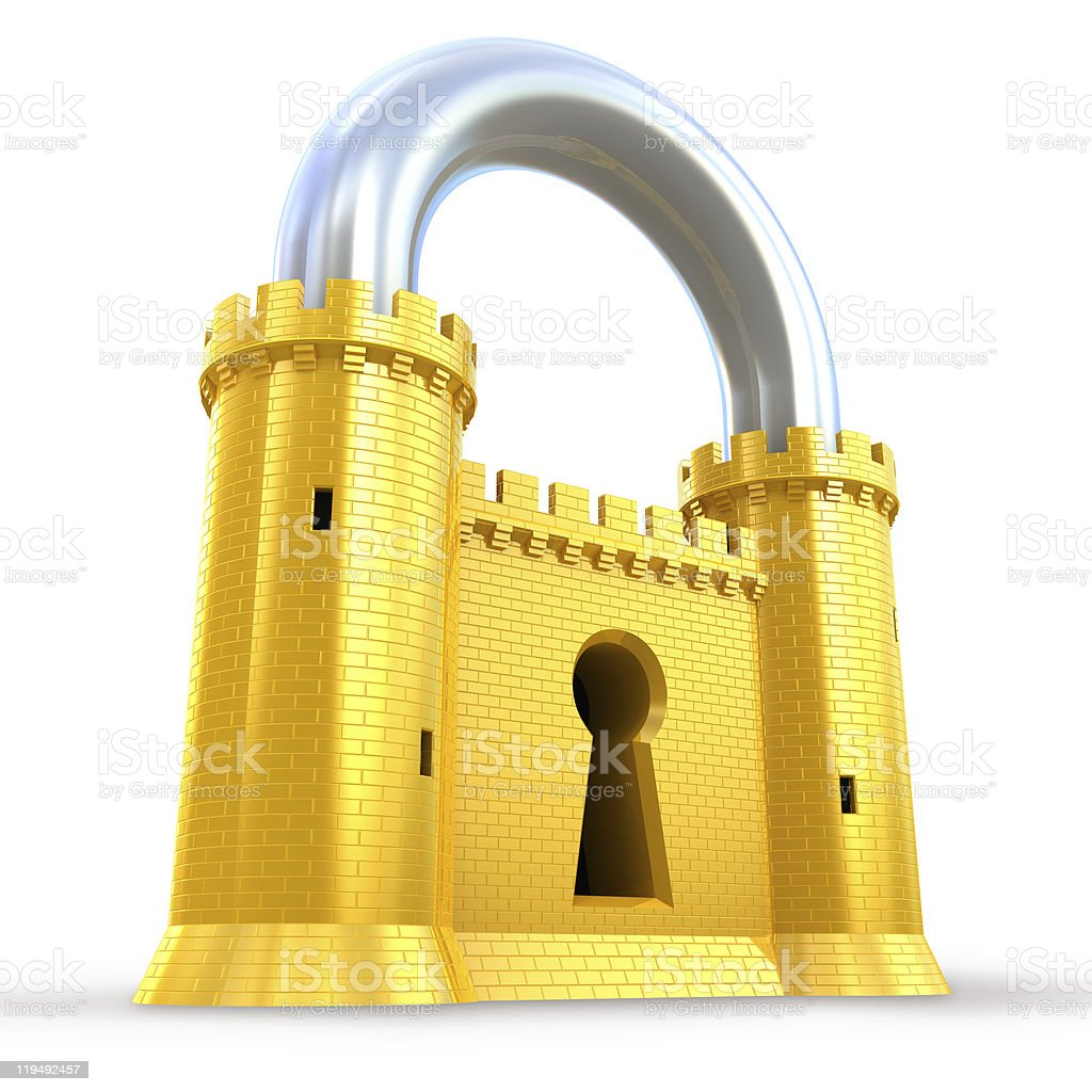 Mighty fortress as a padlock stock photo
