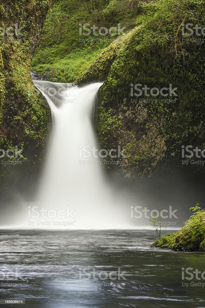 Mighty waterfall thundering into wilderness forest pool stock photo