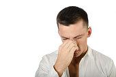 Migraine. Man and headache.
