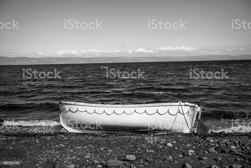 Migrant boat abandoned on Lesbos, Greece stock photo