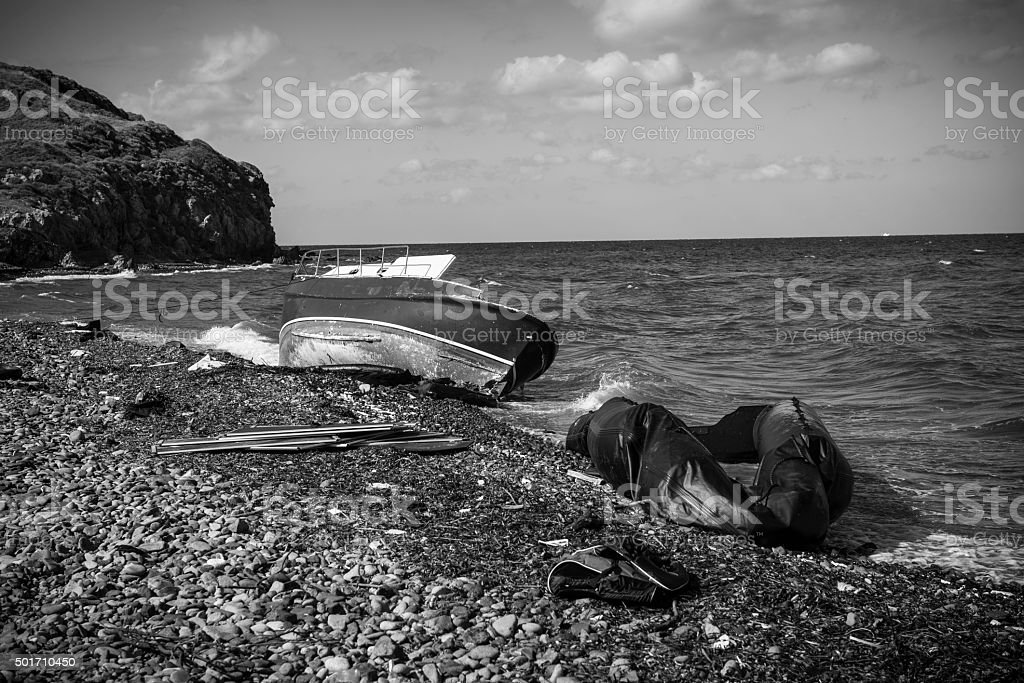 Migrant boats abandoned on Lesbos, Greece stock photo