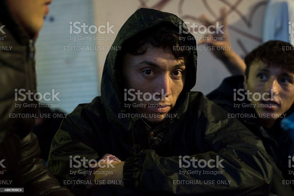 Migrant crisis in Europe stock photo