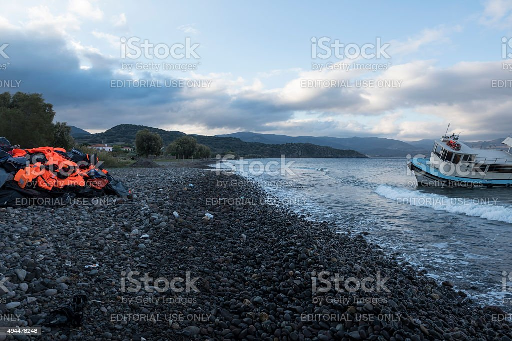 Migrant crisis in Greece stock photo