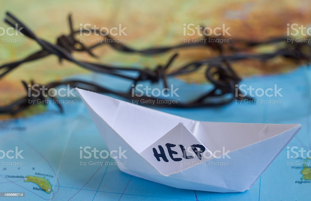 Migrant Crisis Refugees World Map stock photo