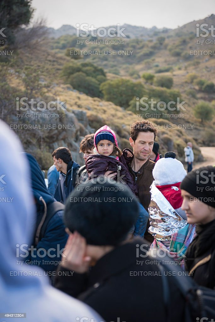 Migrants and refugees arriving on Lesbos, Greece stock photo