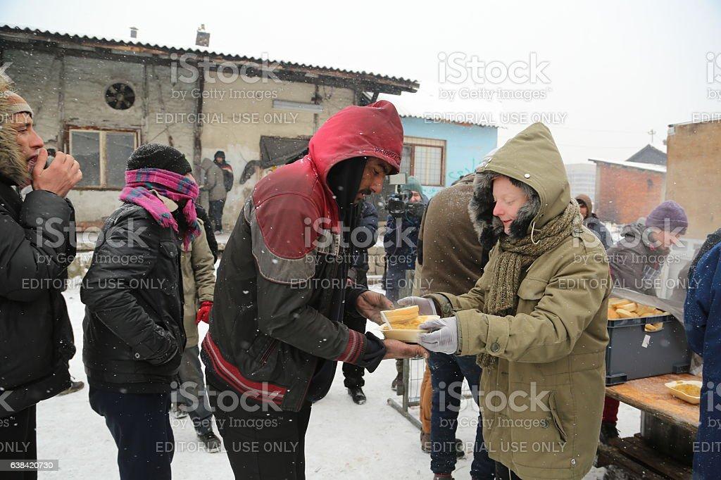 Migrants in Belgrade during winter stock photo