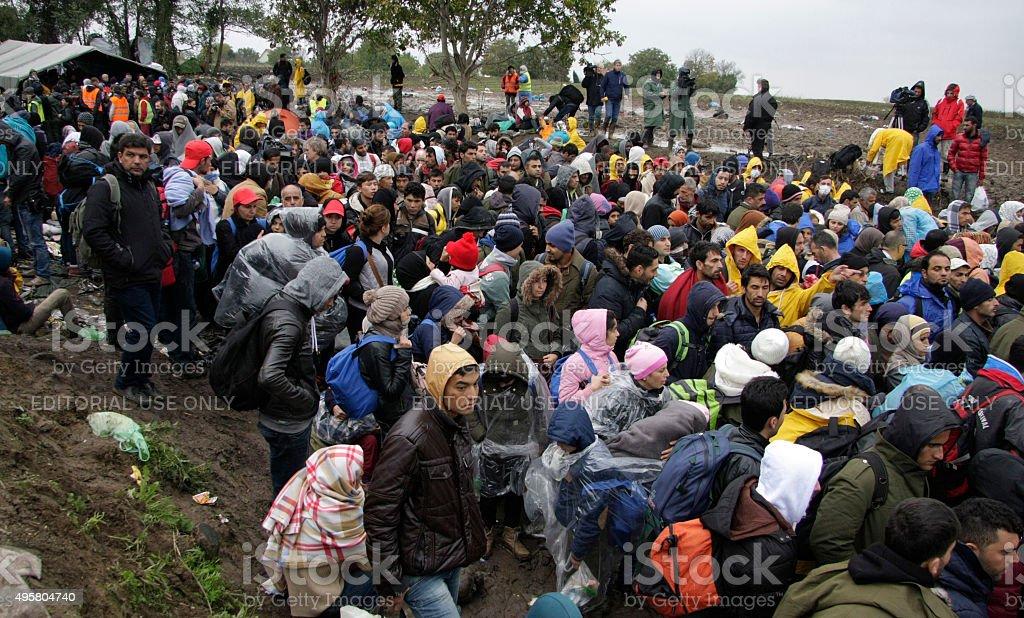 migrants stock photo
