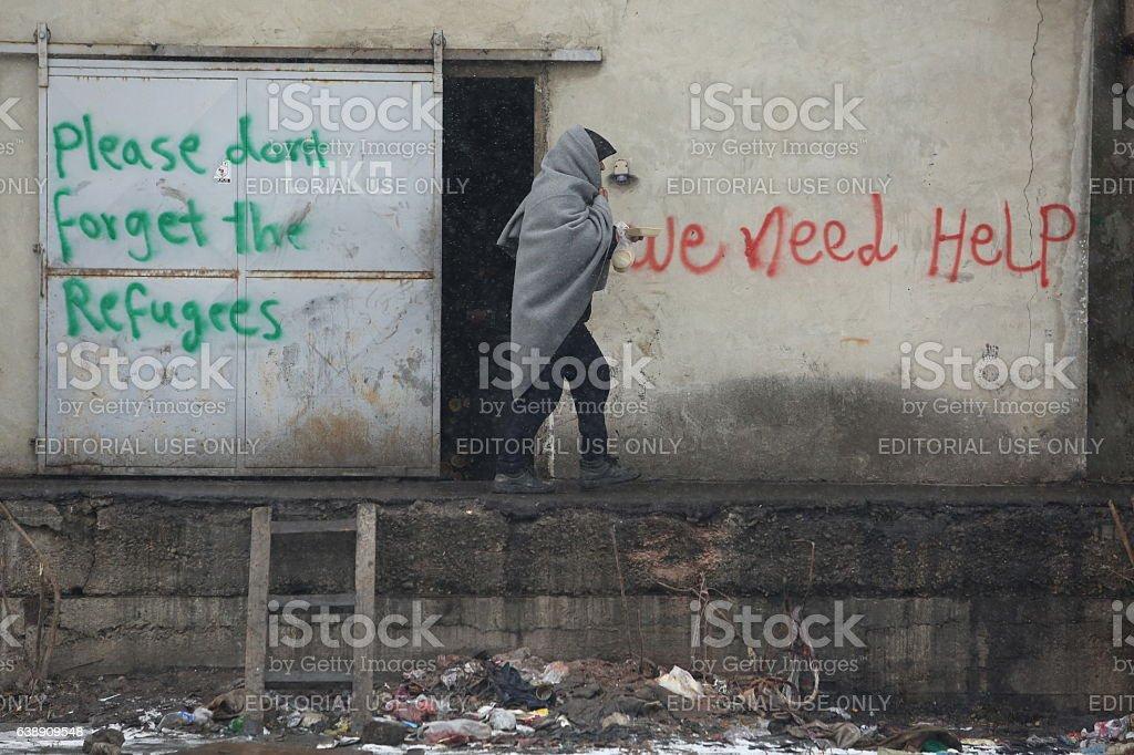 Migrants stuck in Serbia towards the EU stock photo