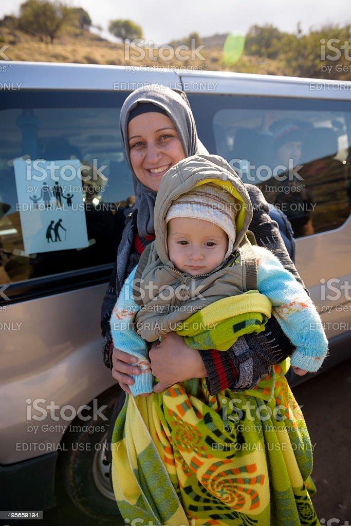 Migrants traveling to Europe stock photo