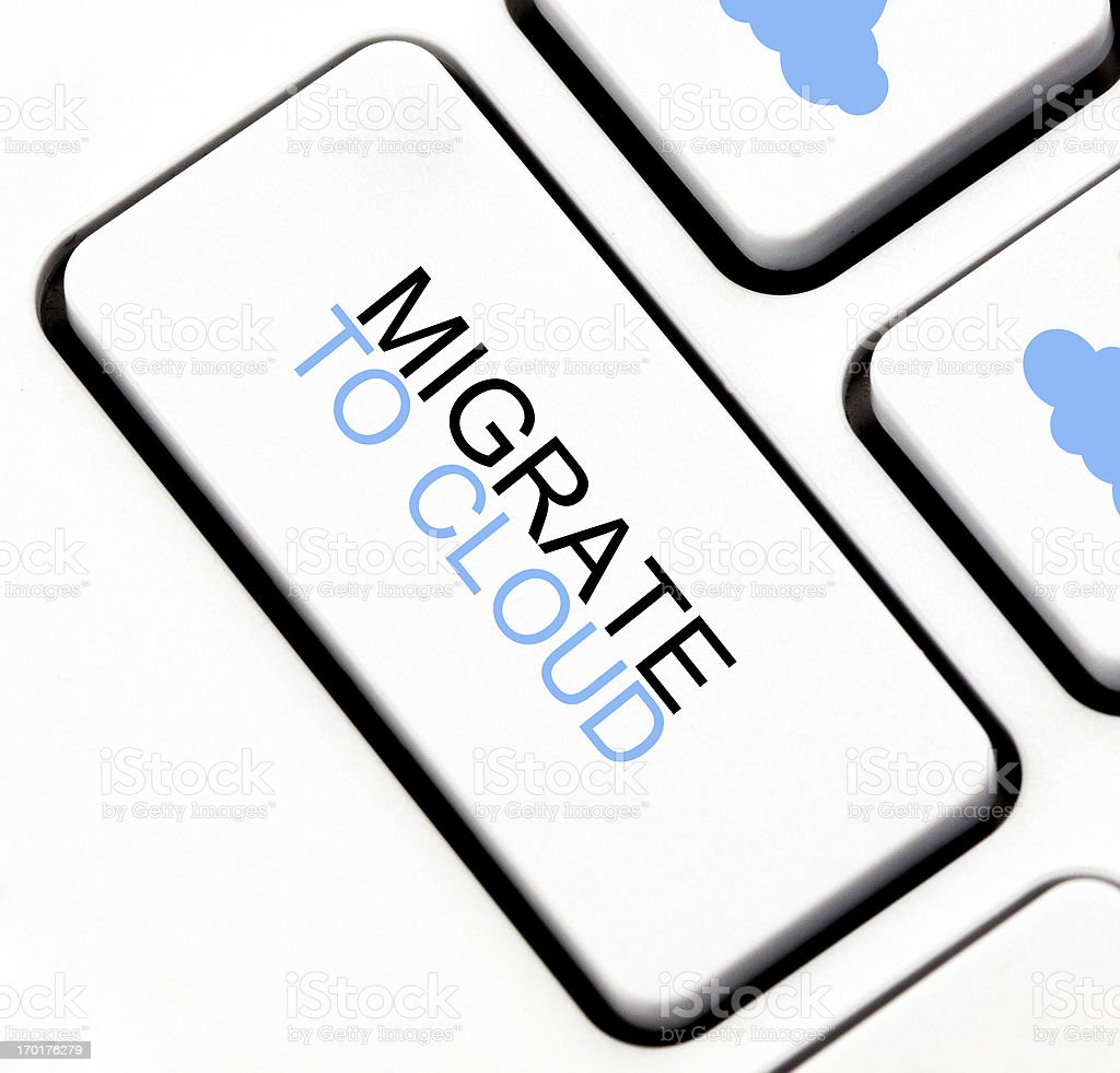 Migrate to cloud button stock photo