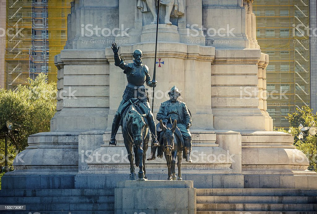 Miguel de Cervantes monument in Madrid, Spain stock photo