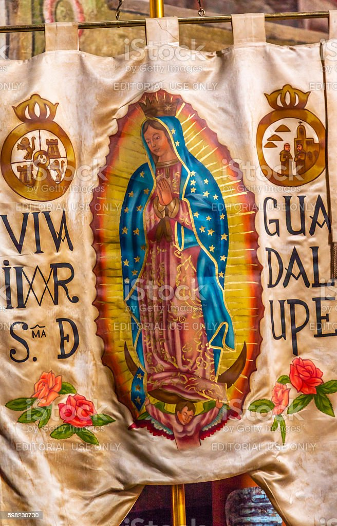 Miguel Hidalgo Guadalupe Replica Banner Liberty Road Atotonilco Mexico stock photo