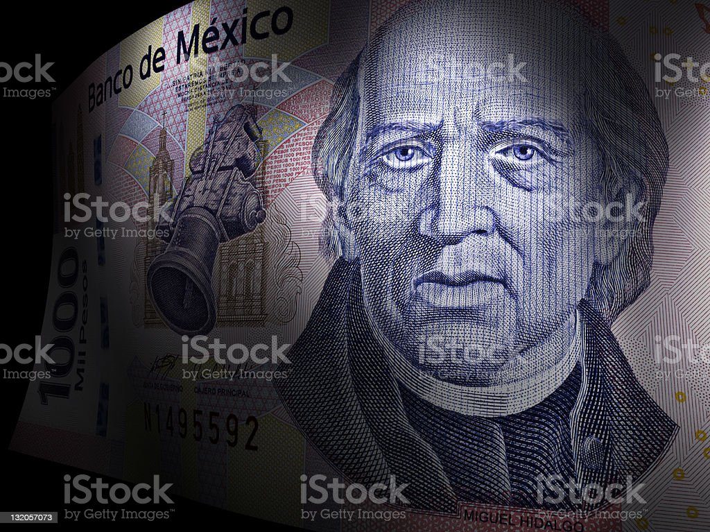 Miguel Hidalgo's close up in a thousand pesos bill stock photo