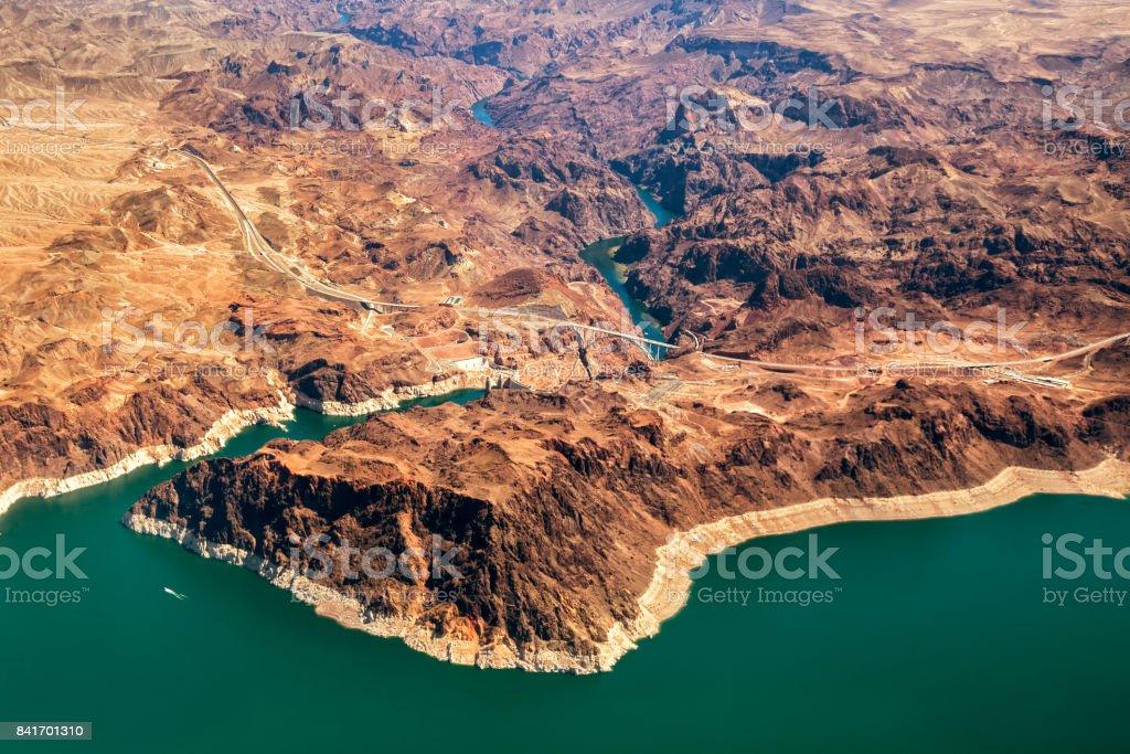 Mike O'Callaghan-Pat Tillman Memorial Bridge part of the Hoover Dam Bypass, Colorado River, Nevada, USA stock photo