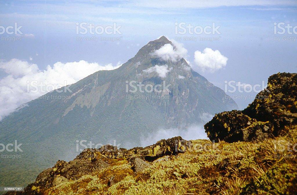 Mikeno Volcanic Peak Virunga National park seen from Karisimbi Rwanda stock photo