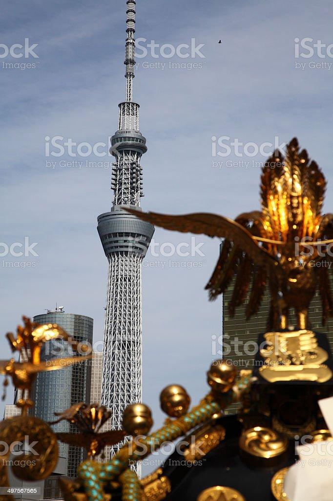 Mikoshi (Portable shrine) and Tokyo Skytree stock photo
