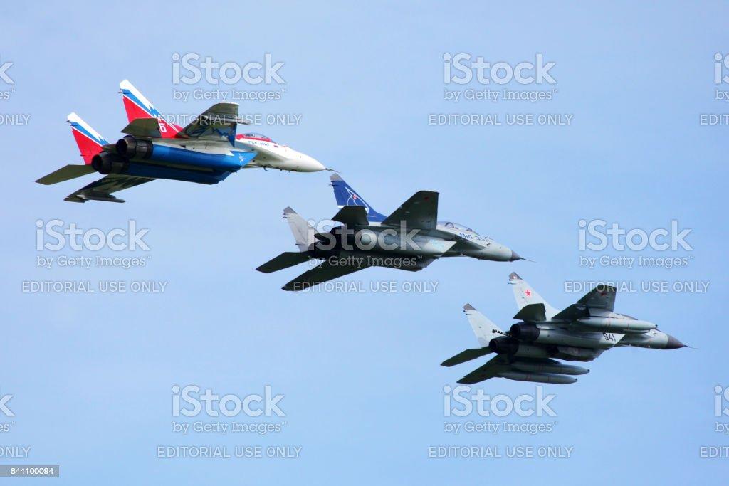 Mikoyan-Gurevich MiG-29OVT 156 WHITE, MiG-35, MiG-29KUB at Zhukovsky during MAKS-2011. stock photo