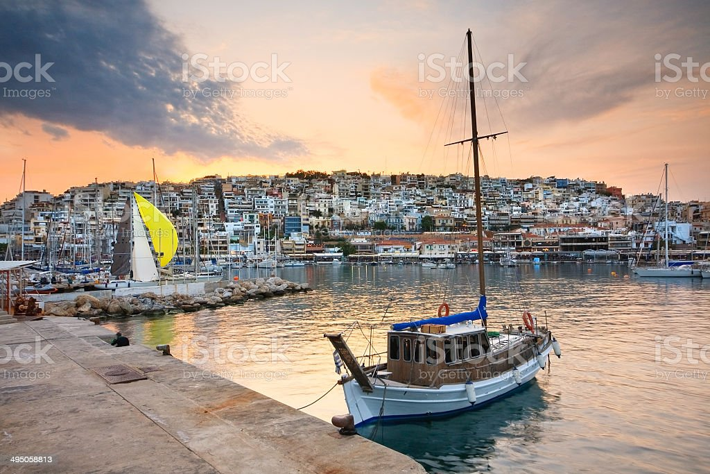 Mikrolimano marina in Piraeus, Athens. stock photo