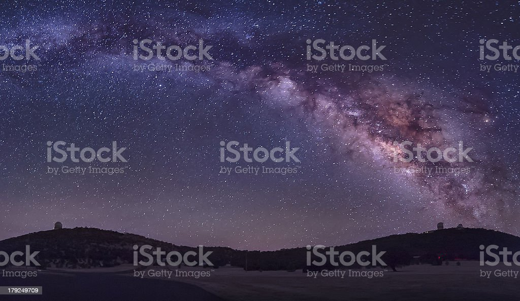 Miky Way over MacDonald Observatory stock photo