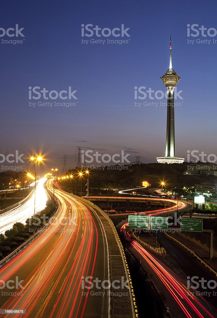 Milad Tower and Light Trails stock photo