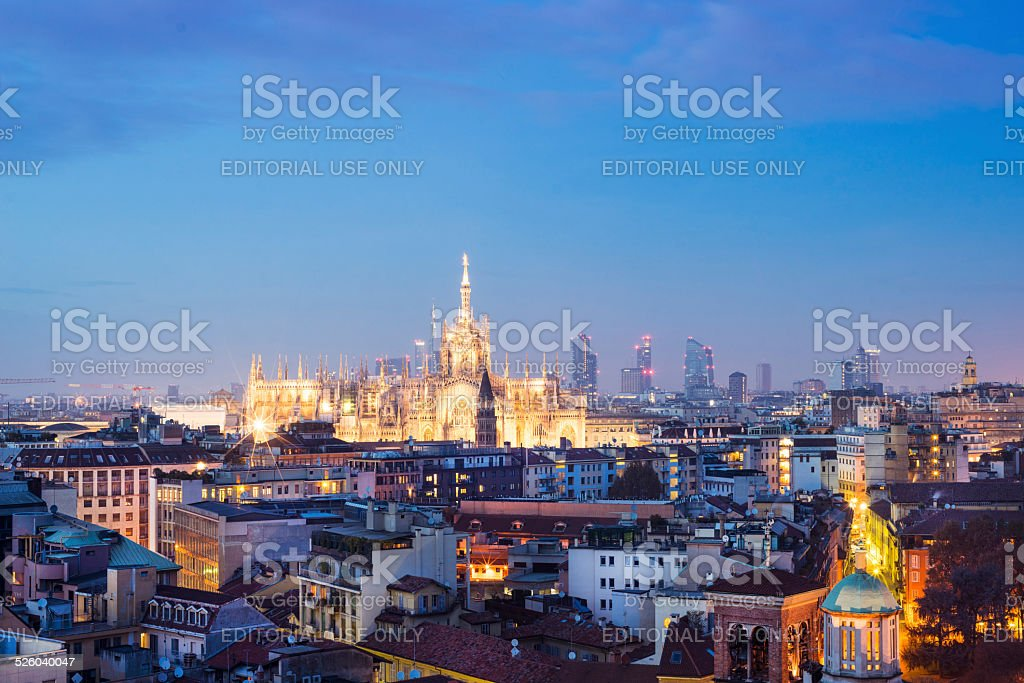Milan, 2014 panoramic skyline stock photo
