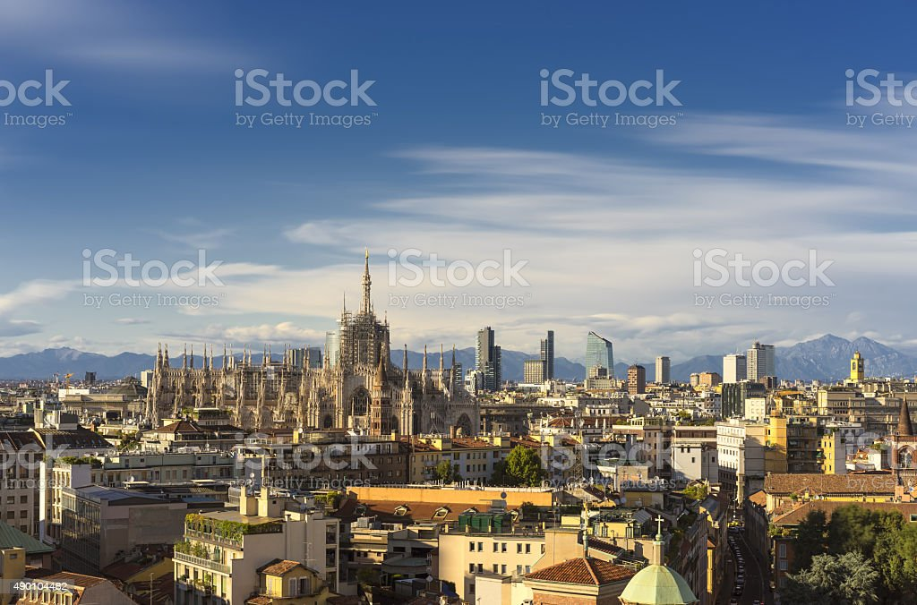 Milan, 2015 panoramic skyline with alps on background stock photo